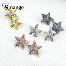 5 Pairs,The  Rainbow Series Women Fashion Jewelry ,The Star Shape Top Quality Gold EarStud,4colors