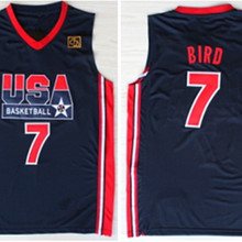 d9b094b1f64  7 larry bird 12 john stockton 1992 dream team usa Basketball Jersey  Embroidery Stitched XXS