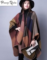 Brand Women Shawl Super Thick Warm Winter Plaid Scarf Shawl Poncho Prorsum Cashmere Scarf Winter Female