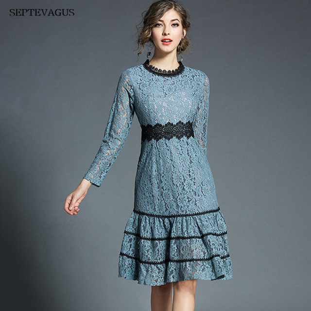SEPTEVAGUS 2018 Spring Women s Elegant Ruffles Lace Dress O-neck Office  Casual Slim Sexy Patchwork Party Dresses Female Frocks 52013dd028ac