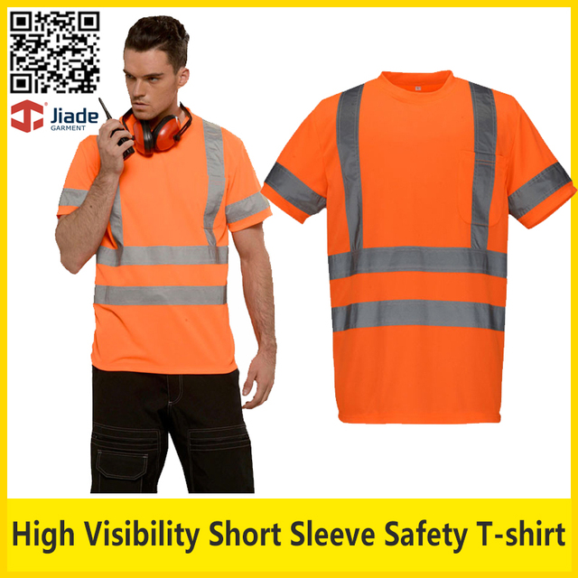 Hi vis breathable reflective safety T-shirt orange short sleeve work t shirt safety clothing free shipping