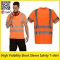 Oi vis respirável reflexiva da segurança T-shirt manga curta laranja camiseta trabalho vestuário de segurança frete grátis