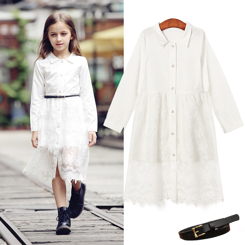 2016 Special Offer Promotion Big Girl Lace Dress Clothes Solid Bohemian Cotton Mid-calf Beach Full Kids Dresses For 3-18y Girls