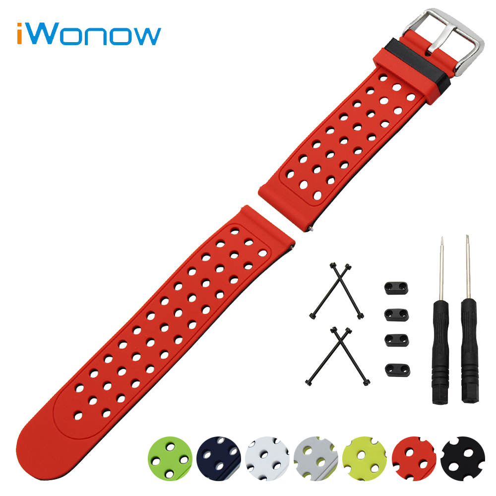 Silicone Rubber Watch Band 24mm for Suunto Core Double Side Wearing Strap Wrist Belt Bracelet + Lug Adapter + Tool Black Red quality pu rubber strap watch accessories for for suunto