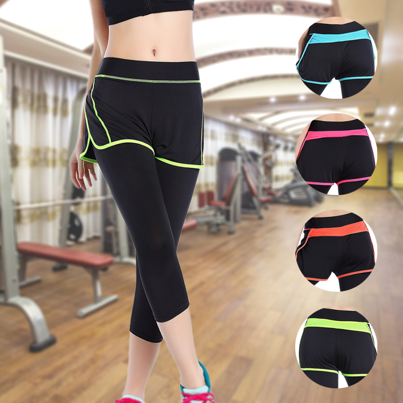 Women Pants Sports Running Sportswear Yoga Fitness Run Leggings False Two Pieces Exercise Gym Compression Pants Clothes