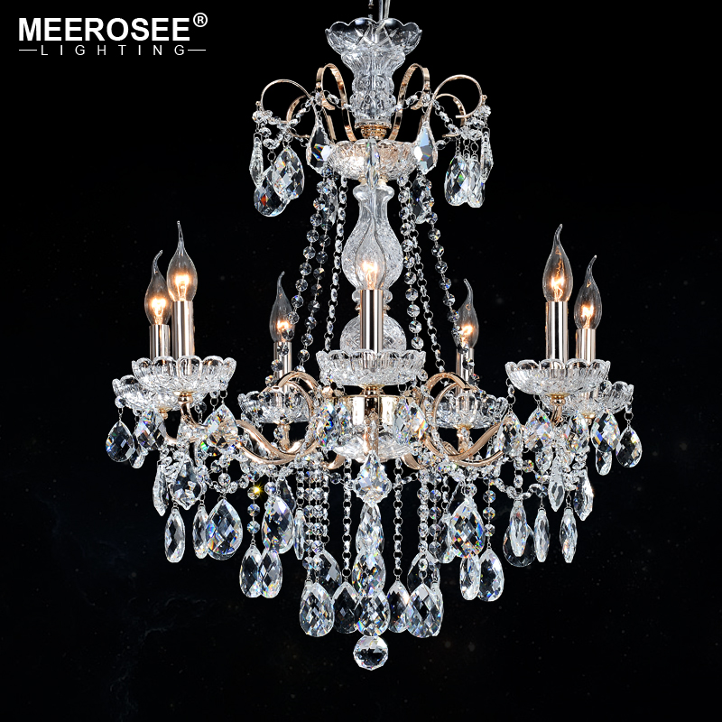 Personality Crystal Chandelier Light K9 Crystal 7 Heads Hanging Light Fixture Kitchen Lighting Crystal Modern Chandeliers Lamp