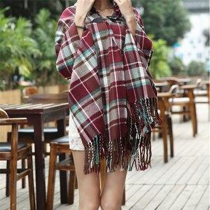 Image 4 - RUNMEIFA poncho pour jeune fille bohémien avec pompon, écharpe à carreaux, cape à capuche, vêtements pour femmes, tendance 2019