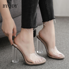 BYQDY Fashion PVC Jelly Sandals Pointed Toe High Heels Women Transparent Perspex Slippers Shoes Heel Clear Dropshipping