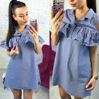 New Arrived 2017 Fashion Houndstooth Summer Dress Woman Ruffles Off Shoulder Plaid Dress Casual Straight Loose