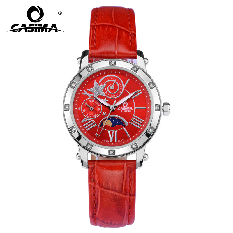 Fashion elegant red leather strap week date moon phase analog quartz female watch with waterproof and star patten 2801 fashion elegant m