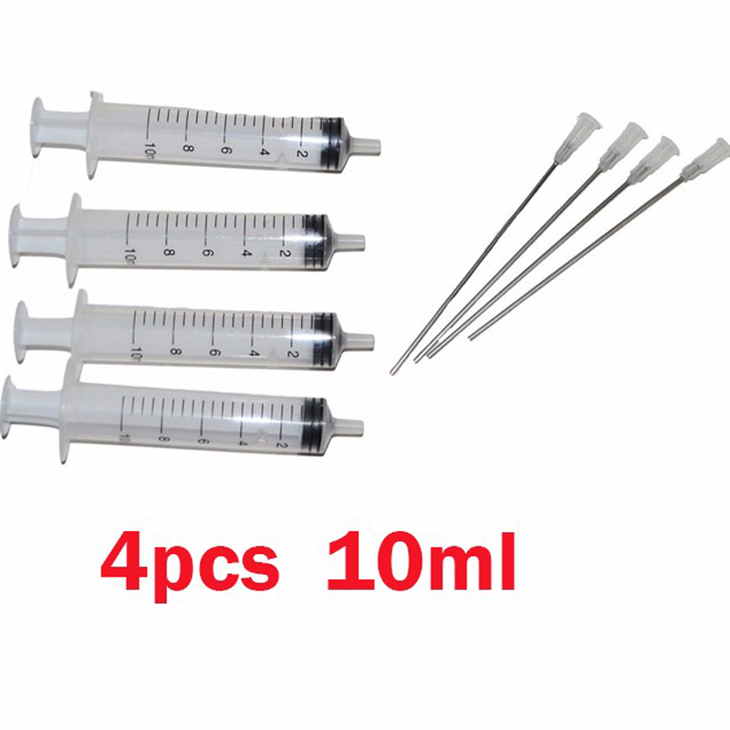 4 Sets Adding Ink Tools 10ML Syringes & 10CM Needles Suitable for Injection CISS and Ink Cartridges on high quality 10ml thicker glass syringe for colon hydrotherapy or food injection without needles 5pcs