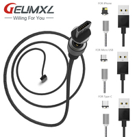 3in1 2A Magnetic Cable For Samsung Huawei LG iPhone 5 5s 6 6s 7 Mobile Phone Magnet Charger Micro/8Pin/Type-c USB Charge Cable