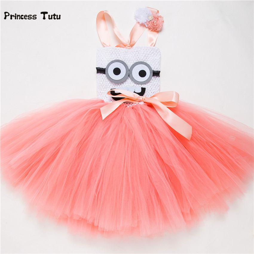 Blue,Peach Girls Minion Dress Cosplay Cartoon Tutu Dress Princess Halloween Costume For Kids Girl Birthday Party Tulle Dresses fancy girl mermai ariel dress pink princess tutu dress baby girl birthday party tulle dresses kids cosplay halloween costume