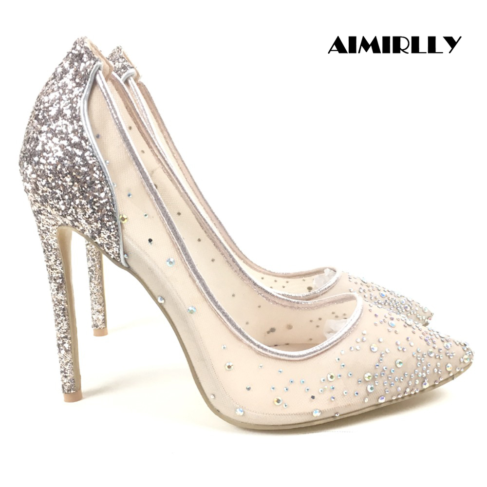 2018 Women High Heel Pumps Glitter Pointed Toe Lady Party Dress Stiletto Summer Breathable Shoes Handmade