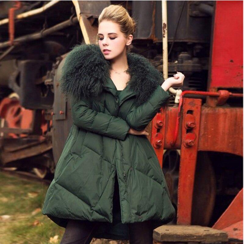 Nouveau Parka Lâche Coton Chaude Femmes Veste Fourrure De Green Black Mode Bas Pardessus D'hiver Vers Vrai dark Col Femelle Manteau Le 44tngvqwA