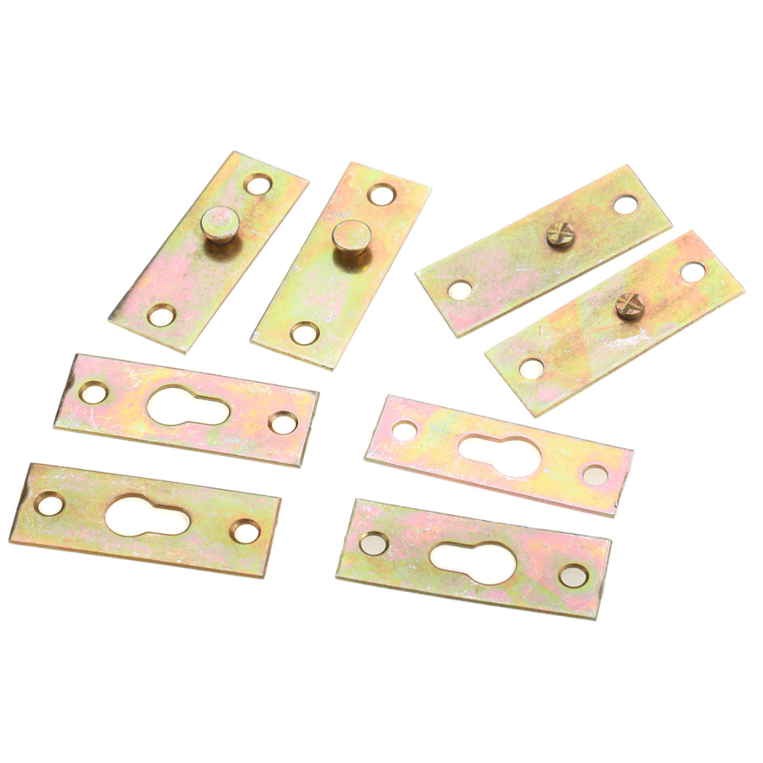 Mayitr 4pcs Bed Bracket Brass Tone Furniture Wood Bed Rail Bracket Fittings Hook Plate Connector For Home Hardware Tool