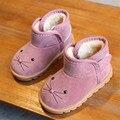 Новинка 2019 года; детские ботинки; ботинки для маленьких девочек; зимние ботинки; Детские теплые ботильоны розового цвета; Повседневная плюш...