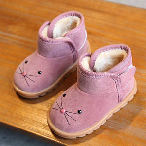 Girls Boots Casual-Shoes Ankle Plush Toddle Baby-Boys Winter Cartoon Children Warm New