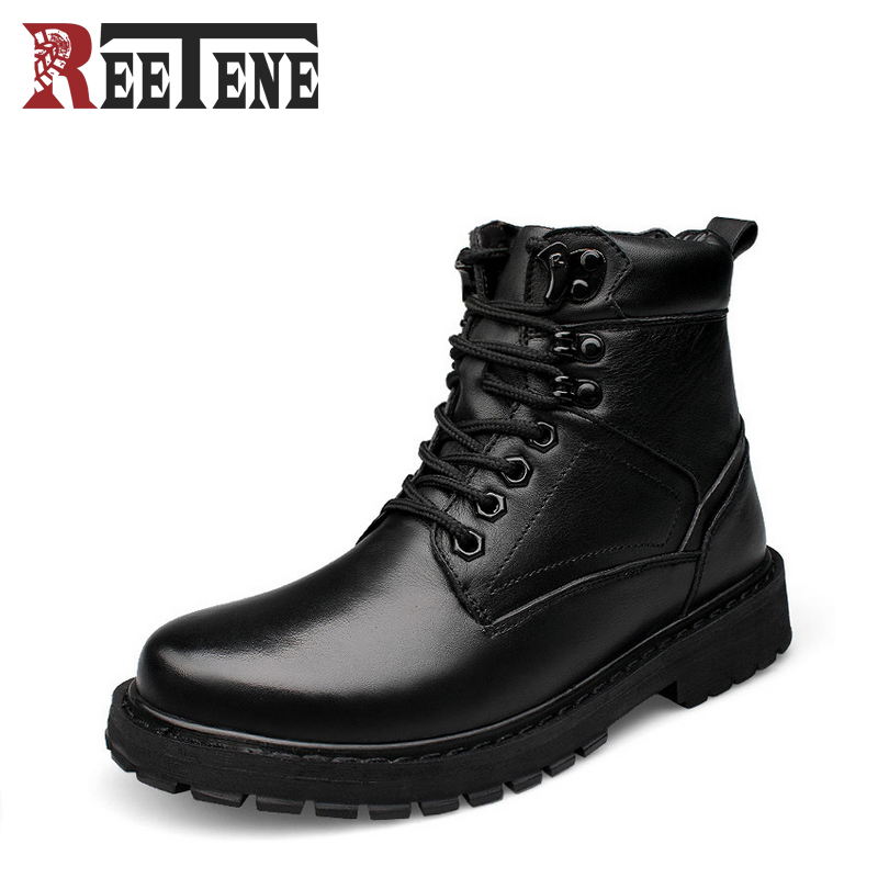 Genuine Leather Men's Casual High Boots New Trend Tooling Boots Cowhide Warm Men Snow Boots Lace-Up Black Shoes Plus Size iahead men boots genuine leather flats new casual shoes lace up warm winter boots men plus size 38 48 rain shoes men mh586