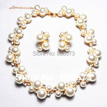 Good Quality!!Gold Tone Wedding Bridesmaid Cream Pearl And Crystal Necklace&Earrings Jewelry Sets