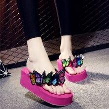 Брендовые дизайнерские разноцветные Босоножки на платформе с бабочками; женские летние туфли ручной работы с милыми животными; Туфли на танкетке; пляжные шлепанцы для девочек