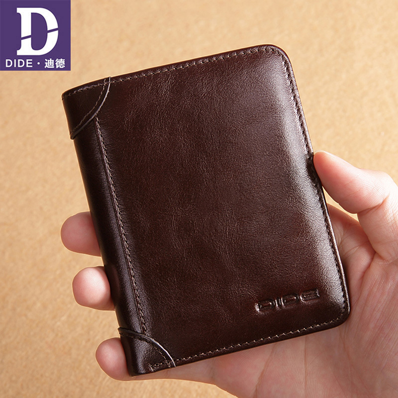 DIDE Luxury Brand Men Wallet 100% Genuine Leather Man Short Wallet Male Wallet Vintage Purse Standard Card Holders Wallets westal genuine leather men wallets leather man short wallet vintage man purse male wallet men s small wallets card holder 8866