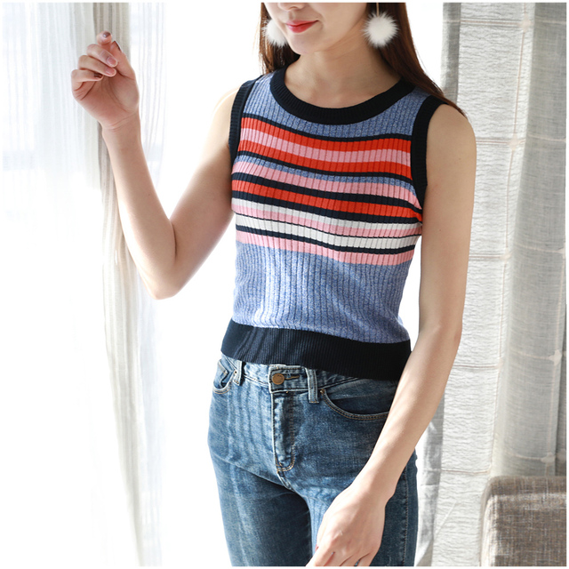 a46e7ca53c girl Crop Top Women 2019 Summer Tops Off Shoulder Tank Top Femme Knitted  Cotton Striped Blouses Vest Woman Spring Clothes