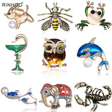 13 Styles High-grade Vintage Fashion Frog Pins Cute Bee Animals Enamel Insect Dog Brooches For Women Party Gift New(China)