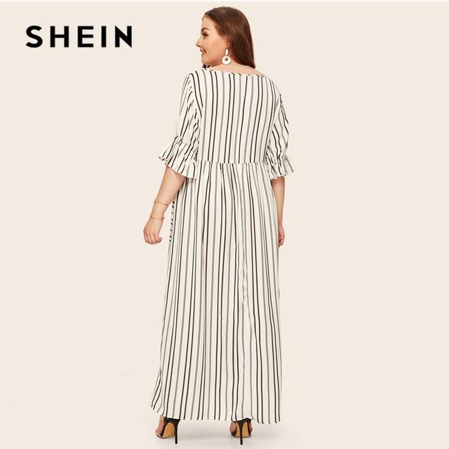 SHEIN Plus Size Flounce Sleeve Patch Pocket Striped Dress 2019 Women Spring Summer Casual Half Sleeve High Waist Maxi Dresses 2