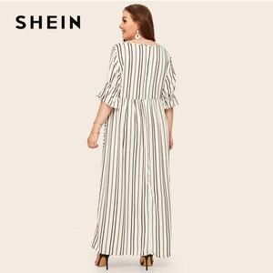 Image 3 - SHEIN Plus Size Flounce Sleeve Patch Pocket Striped Dress 2019 Women Spring Summer Casual Half Sleeve High Waist Maxi Dresses