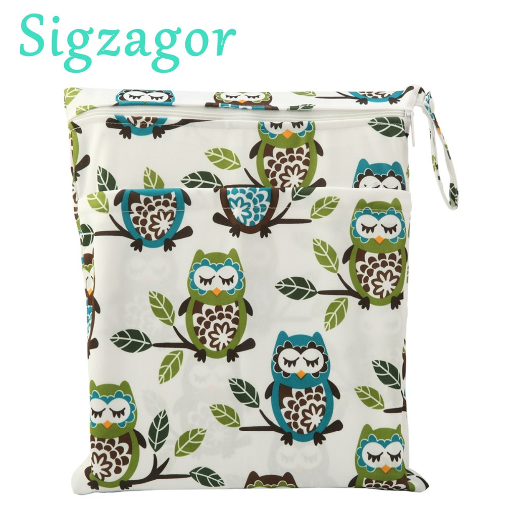 sigzagor wet dry bag with two zippered baby diaper bag nappy bag waterproof reusable. Black Bedroom Furniture Sets. Home Design Ideas