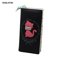 Female Little Cat Printing Polka Dot Within The Grid And Wallet Long Section 18.5cm*8.5cm*2cm