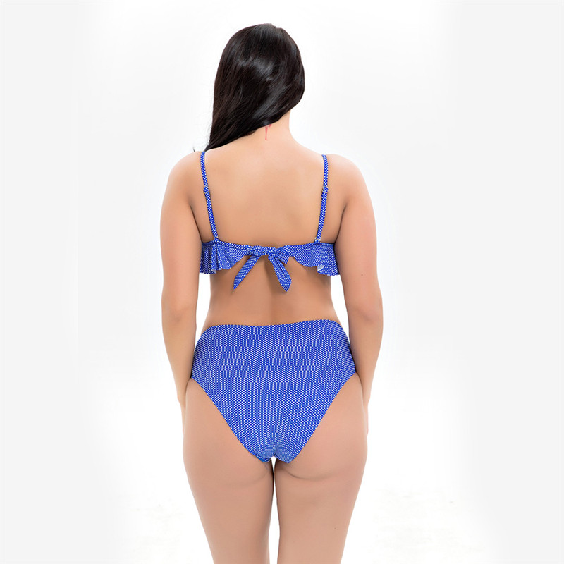 2019 New Plus Size Bikini Set Newest Swimsuit for Summer Women Female Flounced Mid Waist Large Breast Swimwear Maillot De Bain in Bikinis Set from Sports Entertainment