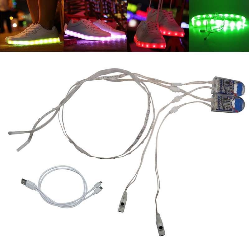 Waterproof LED Strip Light 1Pair USB Charging Rechargeable Battery Powered 3V SMD3528 RG ...