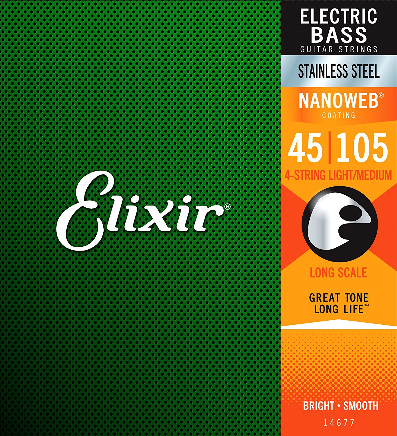 Elixir Strings 14677 Stainless Steel 4-String Bass Strings with NANOWEB Coating, Long Scale, Light/Medium (.045-.105) rotosound rs66lc bass strings stainless steel