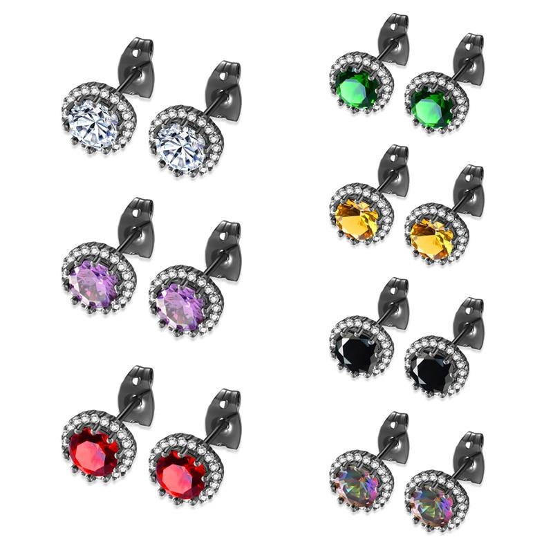 AAA Cubic Zirconia Stud Earring Wedding Earrings for Brides Rhinestone Luxury Earrings Black Gold Color Christmas Earrings Girl