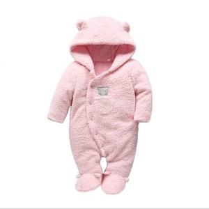 Image 5 - Мягкая одежда для новорожденных младенцев, комбинезоны с медведем для маленьких девочек и мальчиков, Плюшевый комбинезон с капюшоном, зимние комбинезоны для детей, детская одежда