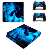 2 Styles Blue Flame Decals Sticker Cover For Sony Playstation 4 Slim Console Skin And For