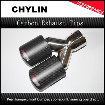 2 Piece Inlet63mm-Outlet90mmDual for ak AKRAPOVIC carbon fiber exhaust tip exhaust pipe muffler for BMW for Volkswagen for Benz