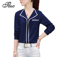 TLZC New Summer Fashion Women White Shirts Blouses Size S XXL Open Collar Sexy Office Lady