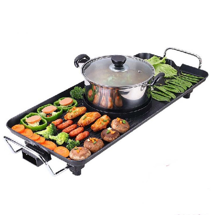 Multifunctional Korean Barbecue Pits Fondue Electric Hotplate Smokeless Bbq Grill Suit 7 Or More People churrasqueira para fogão