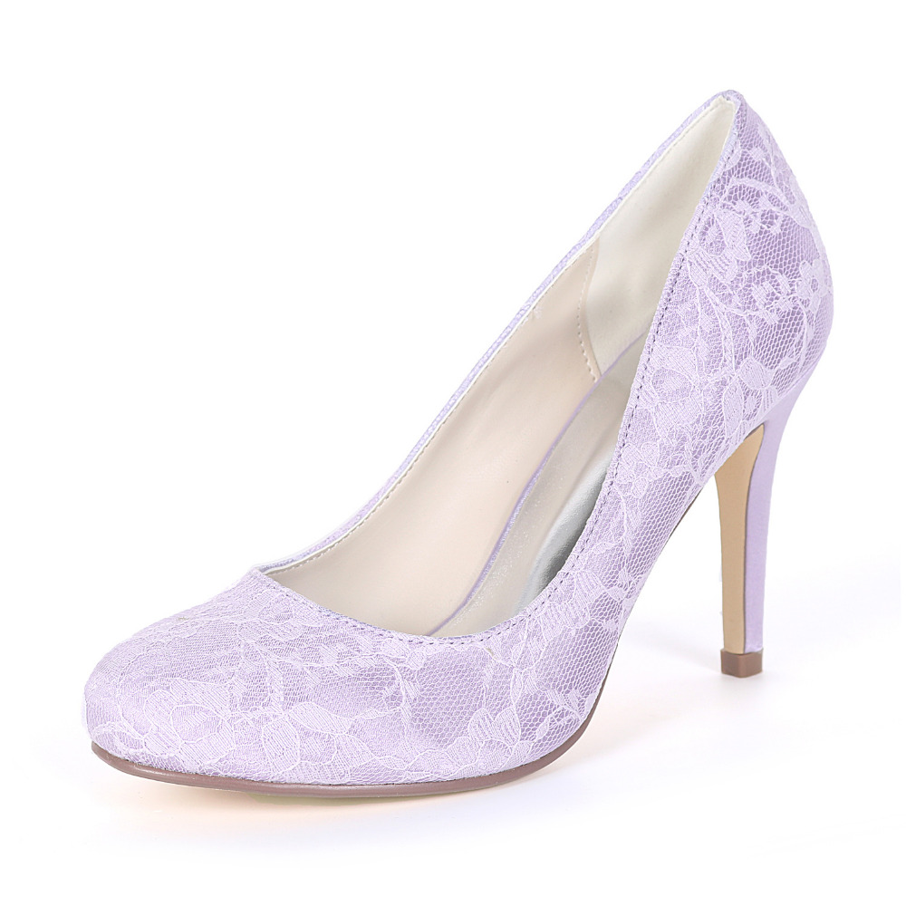 Creativesugar concise rounded toe lace lady high heels bridal wedding prom  sweet dress shoes turquoise lavender a4e6580b986d
