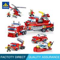 KAZI Fire Fighting Car Helicopter Boat Building Blocks ALL in One DIY Fire Station Bricks Educational Toys for Children