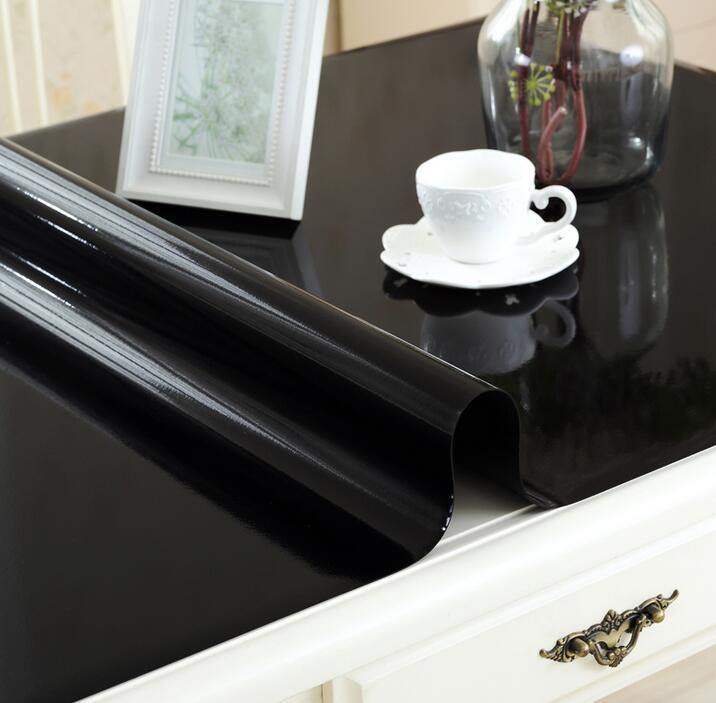 1.5mm waterproof oilproof table cloth Soft Glass square black PVC Tablecloth Wedding din ...