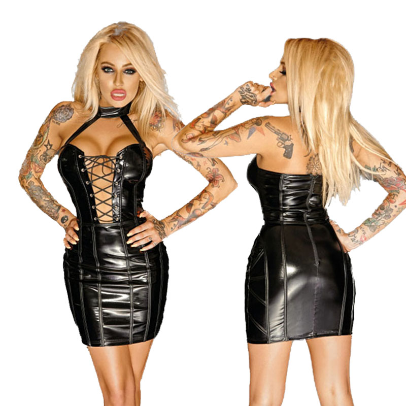 Sexy Black Wetlook Leather Corset Bandage Dress Fetish Faux Vinyl Gothic Halter Lace Up Night Clubwear Sexy Dance Bodycon Dress