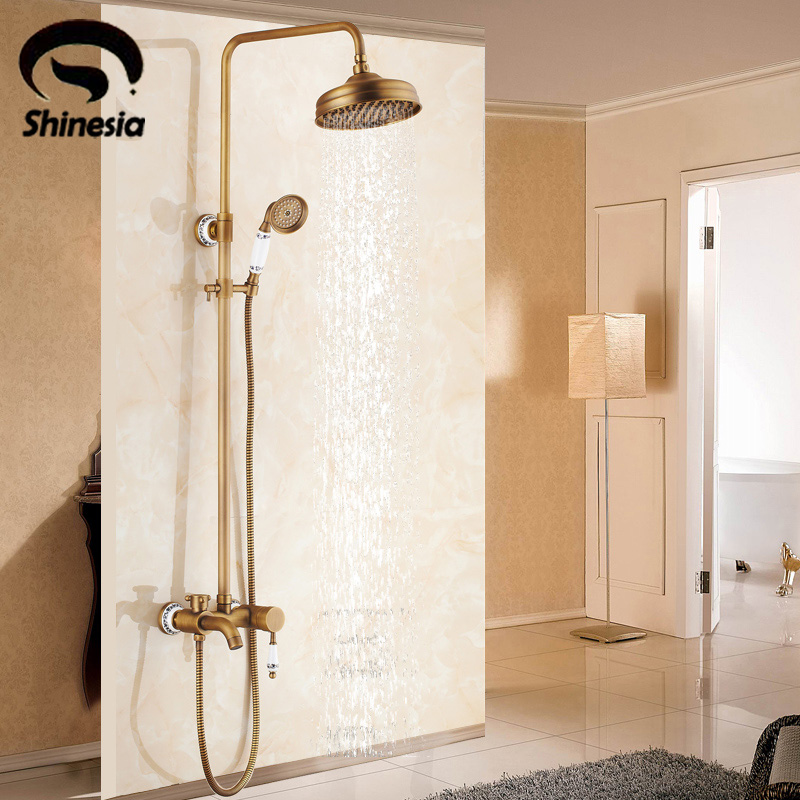 Solid Brass Bathroom Shower Faucet Sets Single Handle Tub Mixer Tap with Hand Shower Antique Brass