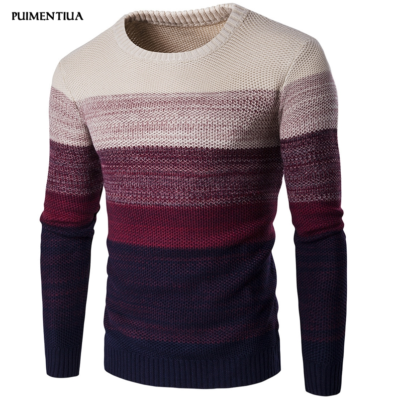 Puimentiua 2019 New Fashion Men Casual Pullover Round Neck Knitted Sweaters Long Sleeve Slim Fit Gradient Color Knitwear Homme