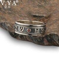 V YA 925 Sterling Silver Rings For Men Big Size 12 Punk Retro Thai Silver Mantra