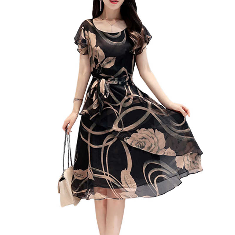 Women's Fashon Party Evening Group Dress Plus Size Printing Dress Short Sleeve O Neck Floral Pattern Aline Dress