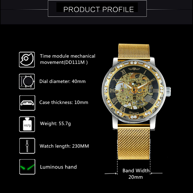 WINNER Fashion Top Brand Luxury Skeleton Dial Crystal Iced  2